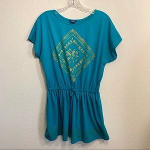 Chaps Short Sleeved Cinched Waist Graphic Tee M